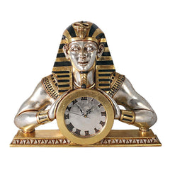 "21"" Temple of Heliopolis: Egyptian Collectible Mantle Home Gallery Clock Statue"
