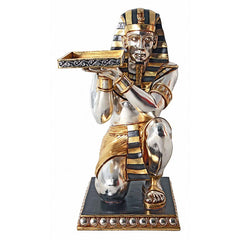 "36.5""h Ancient Egyptian Pharaoh Kneeling Servant Statue Side Table"