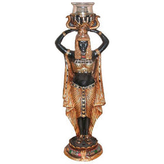 "15"" Classic Egyptian Female Statue Accent Candle holder Stand"