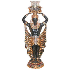 "15"" Classic Egyptian Revival Male Statue Candleholder Candlestick Sconce"