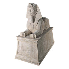 GRAND STONE SPHINX ON PLINTH