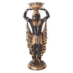 "73.5"" Life Size Classic Cleopatras Egyptian Nubian Guard Sculpture Statue Fig..."