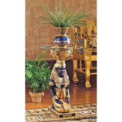 "29"" Ancient Egyptian Isis Goddess Glass-topped Pedestal Table"
