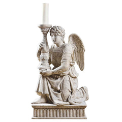 "36"" Kneeling Angel with Candlestick Statue Sculpture Figurine Inspired By Mic..."