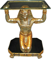 "30"" King Tut Servant Sculpture Statue Glass-Topped Console Table"