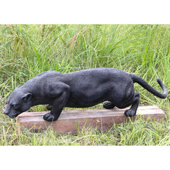 "54""w Large Wildlife Jungle Feline Black Panther Home Garden Gallery Statue Sc..."