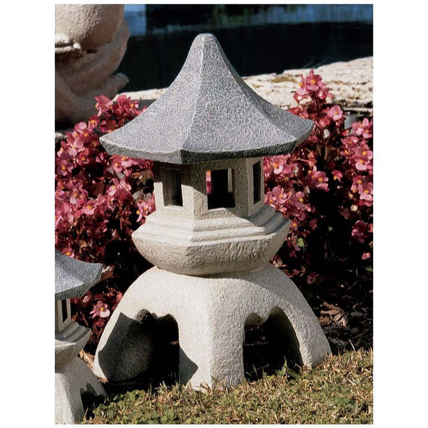 "17.5"" Asian Pagoda Lantern Garden Pool Side Sculpture Statue"