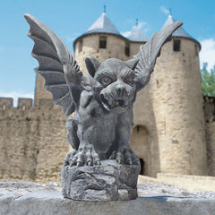 "12.5"" Gothic Winged Gargoyle Dragon Architectural Home Garden Statue Sculptur..."