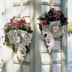Art Nouveau Antiqued Blooming Poppies French Greenmen Planter Fracais Wall Sculptures
