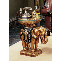 Luxury Persian Arabian Elephant Glass-topped Sculptural Table