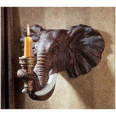 African Wildlife Elephant Sculpture Wall Sconce Candle Holder