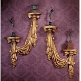 "25"" Antiqued Gold Finish Draped Decorative Sculptural Wall Accent Set"