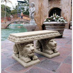 "30"" Classic Grande Lion Sculptural Home Garden Bench Sit Stand"