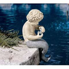 "16"" Little Merman Sculpture Home Garden Poolside Statue"
