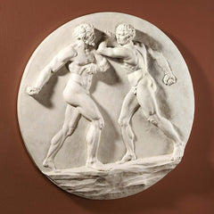 "23"" Agostino Penna Greek Nude Male Sport Boxer Wall Sculpture Statue"