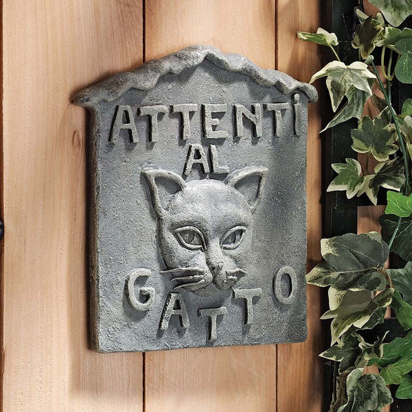 "10"" Italian Art Attenti al Gatto Cat Wall Sculpture Décor"