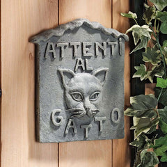 "10"" Italian Art Attenti al Gatto Cat Wall Sculpture Decor"
