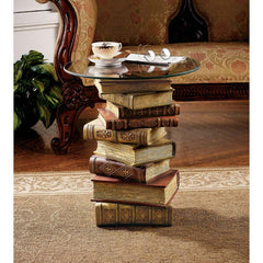"21"" Antique European Style Library Books Sculptural Glass-topped Side Table"