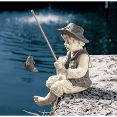 "15"" Fisherman Child Home Pool Garden Sculpture (Xoticbrands)"
