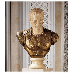 Museum Style Julius Caesar Sculptural Bust with Breast Plate - Statue (Xoticbrands)