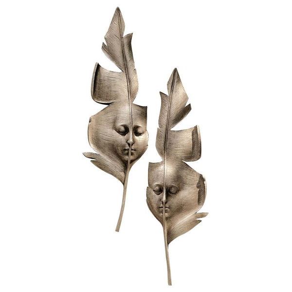 "21"" Italian Carnival Venetian Greenmen Feather Wall Mask Art Deco - Set of 2"