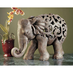 "10"" Majestic Indian Elephant Desktop Shelf Sculpture Statue Figurine"