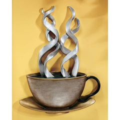 "23"" Cup of Coffee Wall Sculpture Statue Decor"