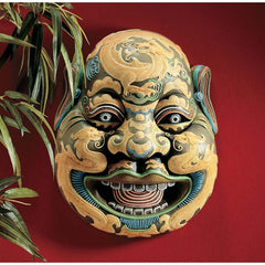 "11"" Classic Chinese Asian Wei Chi Gong Sculpture Wall Mask Art Deco"
