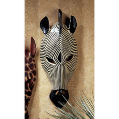 "14.5"" Classic African Wildlife Tribal Zebra Wall Mask"