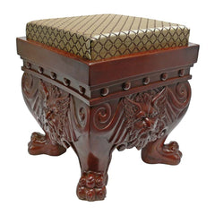 "13"" 19th-century British Antique Replica Medieval Jacquard Footstool"