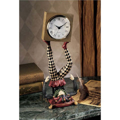 "13"" Table Top Accent Joker Statue Sculpture Clock"