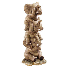 "10"" Tropical Elephants Hear-No See-No Speak-No Evil Statue Sculpture Figurine"