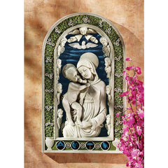 "19"" Classic Mary and Jesus Wall Sculpture Statue Inspired By Andrea della Robbia"