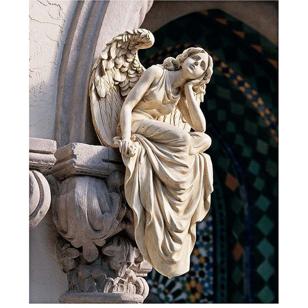 19th Century Italian Replica of Grace Sitting Wall Garden Angel Sculpture Statue (Xoticbrands)