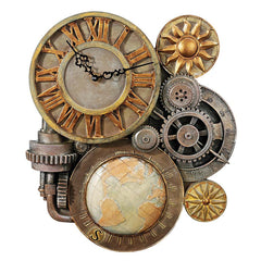 "18"" Collectible Classic Gears of Time Sculptural Wall Clock"