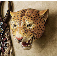 "10"" African Wildlife Leopard Wall Sculpture Statue Décor"