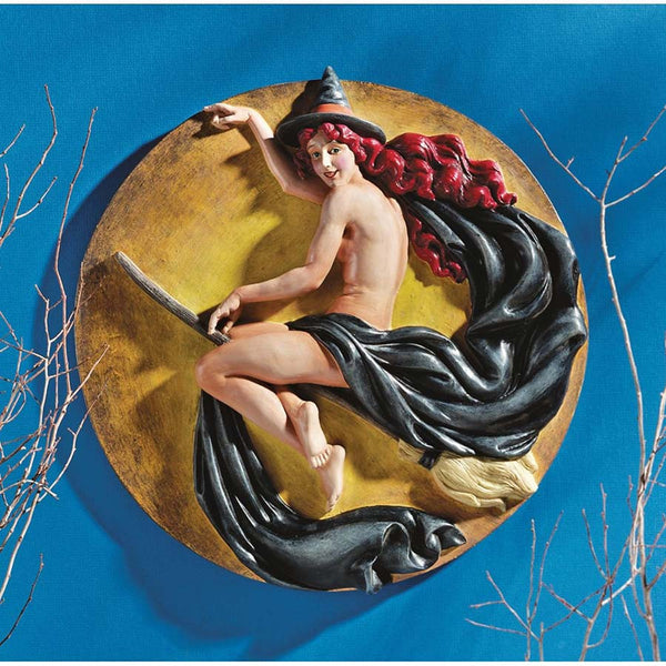 "13"" Flying Sexy Nude Girl Witch Wall Plaque"