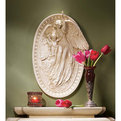 "18"" Winged Angel of Grace Cherub Wall Sculpture Statue Decor Inspired By Carl Georg Barth"