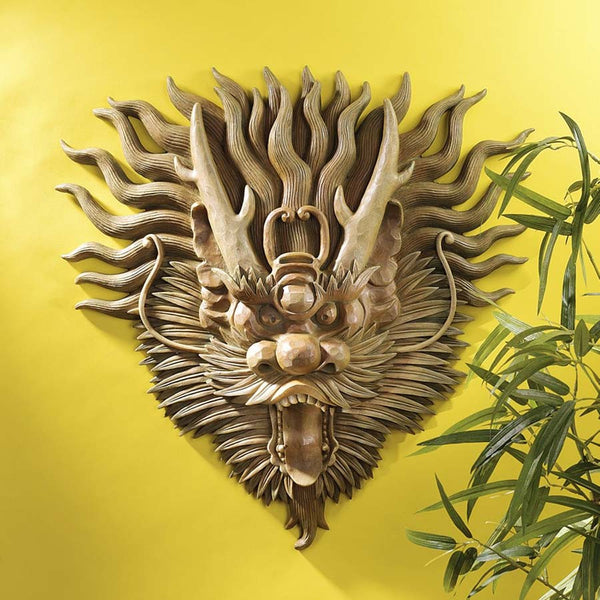 "19"" Historic Chinese Dragon Sculptural Dragon Wall Mask Art Deco"