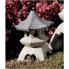 "10.5"" Outdoor Asian Chinese Pagoda Candle Lantern Sculpture Statue - Set of 2"