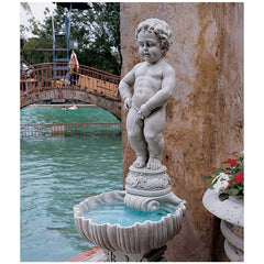 "34.5"" Little Man Pee Manneken Pis Sculpture Statue with Basin and Pump"