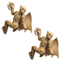 Gothic Gargoyle Desktop Statue Sculpture Figurine - Set of 2