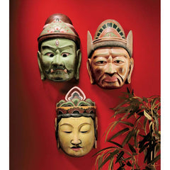 Japanese Museum Replica Buddhist Guardian Wall Masks - Set of 3/ Japanese Gift