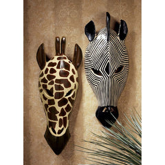 "14.5"" Tribal-Style Giraffe and Zebra Animal Wall Masks"