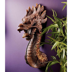 "18.5"" Classic Chinese Dragon Wall Sculpture Statue Deco - Set of 2"