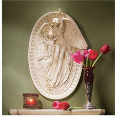 "18"" Classic Home Gallery Angel of Grace Bas-relief Wall Sculpture Statue Repl..."