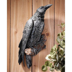 "18"" Gothic Black Raven Bird Wall Sculpture Statue Figurine - Set of 2"