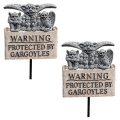 "43"" Beware of Gothic Gargoyles Home Garden Plaque Yard Stake - Set of 2"