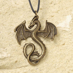 "32"" Dragons Thorne Serpent Dragon Bronze-Finished Pendant - Set of 2"