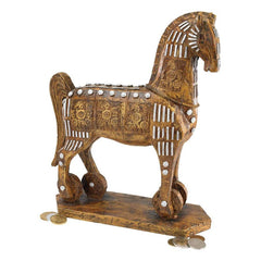 "11.5"" Classic Legendary Ancient Replica Trojan Horse Home Gallery Animal Scul..."